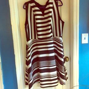 Torrid size 3 skater dress blk/ white stripe